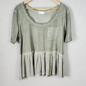 Altar'd State army olive green t-shirt skirted hem